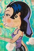Long And Black Hair Purple Dressed Girl With Big Lips Graffiti