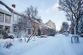 Winter view of street in Trondheim city Norway