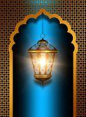 Shiny Diwali Lantern Over Blue Background