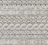 Vector seamless tribal pattern. Hand-drawn background.