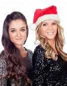 Elegant women celebrating christmas isolated on a white background