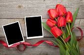 Fresh tulips and blank photo frames over wooden table background