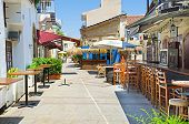 pic of larnaca  - The large outdoor cafe located in the quiet backstreet waits for the opening Larnaca Cyprus - JPG