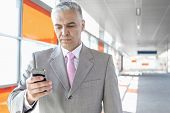 Middle aged businessman text messaging through cell phone at railroad station