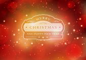 Red abstract background with light effects, blurry light dots and snowflakes. Centered is a label with the lettering Merry Christmas and Happy New Year.