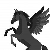 stock photo of pegasus  - Background with horse pegasus in flat style - JPG