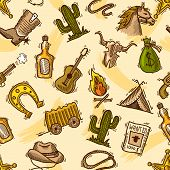 Cowboy seamless pattern color