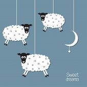 stock photo of counting sheep  - Cute sheep and moon in paper cut out style - JPG