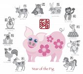 stock photo of oxen  - Chinese New Year of the Pig Color with Twelve Zodiacs with Chinese Symbol for Rat Ox Tiger Dragon Rabbit Snake Monkey Horse Goat Rooster Dog Pig Text in Circle Grayscale Vector Illustration - JPG