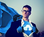 Strong Superhero Businessman Cloud Storage Concepts