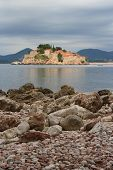 View From The Shore Of The Island Of Sveti Stefan. Montenegro