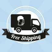 Free Shipping Illustration Overblue  Color Background