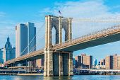 Part of famous Brooklyn bridge on bright day