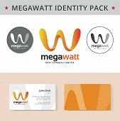 Abstract letter W identity pack vector concept. Logo, visit cards, and other id blanks. Good for company branding set.