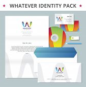 Abstract letter W identity pack vector concept. Logo, visit cards, cd, flash drive, pencil, letter, folder and other id blanks. Good for company branding set.