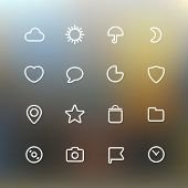 White web interface icons clip-art on color background. Design elements
