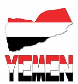 Yemen map flag and text vector illustration