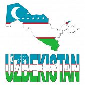 Uzbekistan map flag and text vector illustration