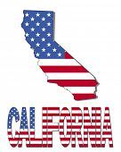 California map flag and text vector illustration