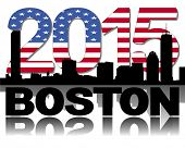 Boston skyline 2015 flag text vector illustration