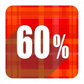 60 percent red flat icon isolated