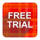 free trial red flat icon isolated