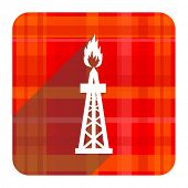 gas red flat icon isolated
