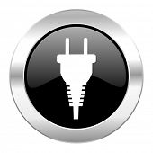 plug black circle glossy chrome icon isolated