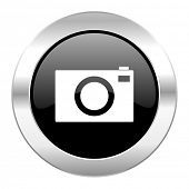 camera black circle glossy chrome icon isolated