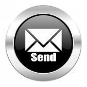 send black circle glossy chrome icon isolated