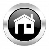 house black circle glossy chrome icon isolated