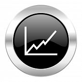 chart black circle glossy chrome icon isolated