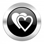 love black circle glossy chrome icon isolated