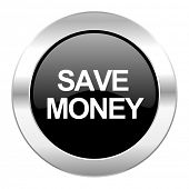 save money black circle glossy chrome icon isolated