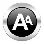 alphabet black circle glossy chrome icon isolated