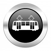 tram black circle glossy chrome icon isolated