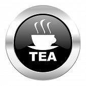 tea black circle glossy chrome icon isolated