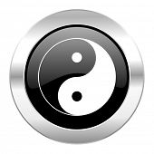 ying yang black circle glossy chrome icon isolated
