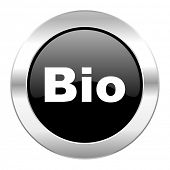 bio black circle glossy chrome icon isolated