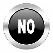 no black circle glossy chrome icon isolated