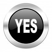 yes black circle glossy chrome icon isolated