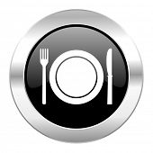 restaurant black circle glossy chrome icon isolated