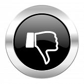 dislike black circle glossy chrome icon isolated