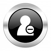 remove contact black circle glossy chrome icon isolated