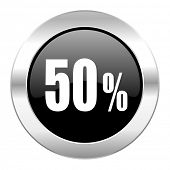 50 percent black circle glossy chrome icon isolated