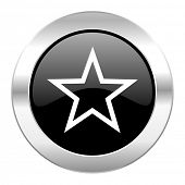 star black circle glossy chrome icon isolated