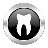 tooth black circle glossy chrome icon isolated