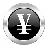 yen black circle glossy chrome icon isolated
