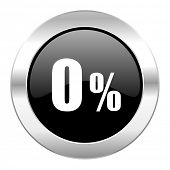 0 percent black circle glossy chrome icon isolated