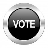 vote black circle glossy chrome icon isolated